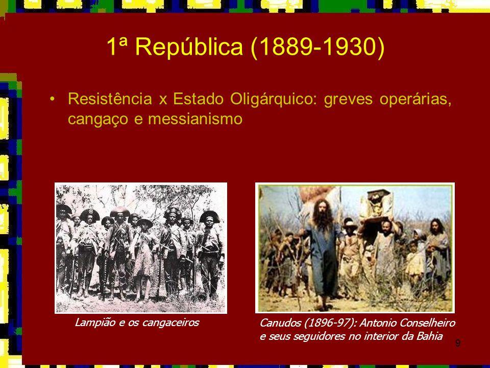 1ª República (1889-1930)Resistência x Estado Oligárquico: greves operárias, cangaço e messianismo. Lampião e os cangaceiros.