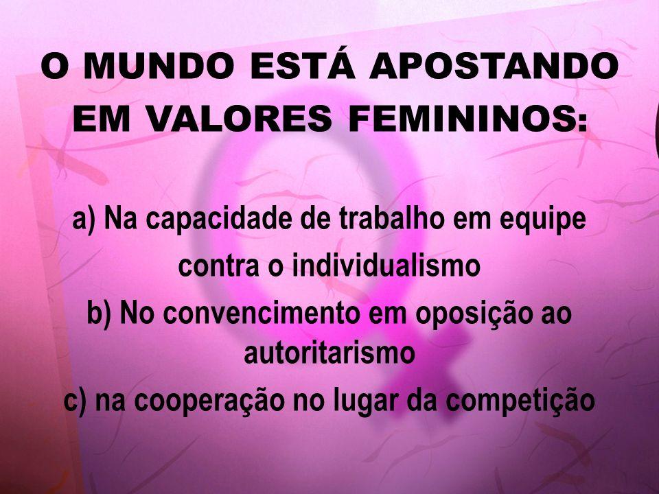 O MUNDO ESTÁ APOSTANDO EM VALORES FEMININOS: