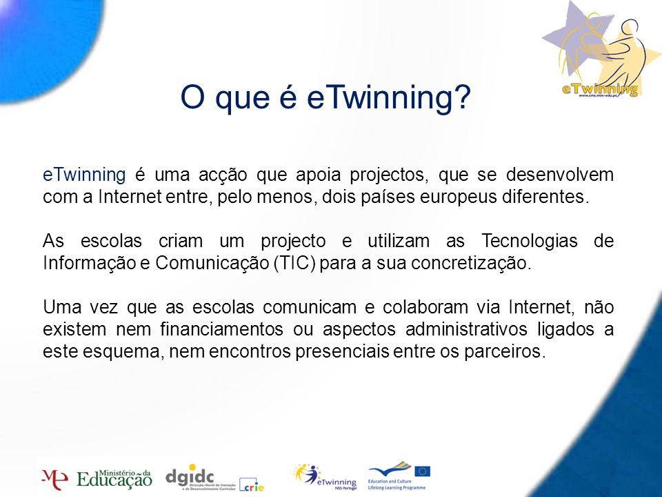 O que é eTwinning eTwinning é uma acção que apoia projectos, que se desenvolvem com a Internet entre, pelo menos, dois países europeus diferentes.