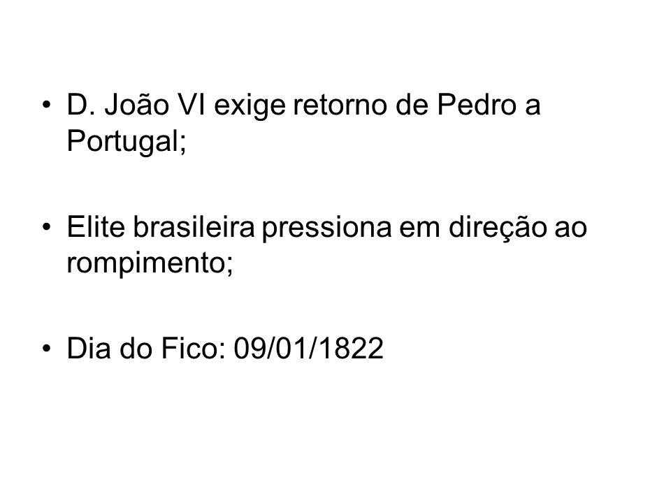 D. João VI exige retorno de Pedro a Portugal;