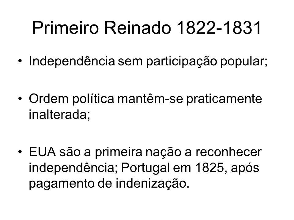 Primeiro Reinado 1822-1831 Independência sem participação popular;