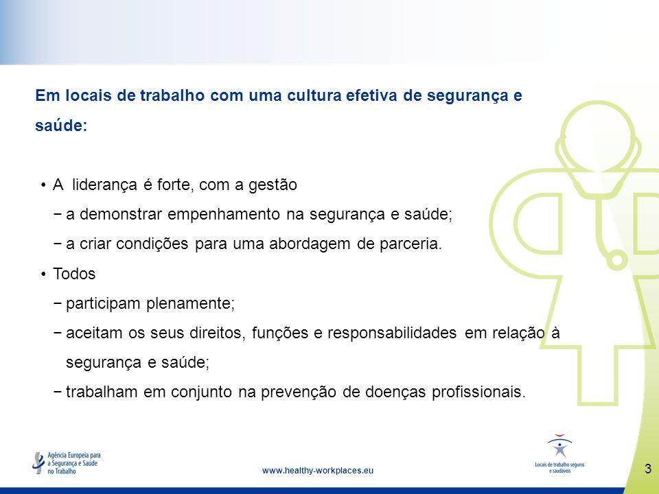 Em locais de trabalho com uma cultura efetiva de segurança e saúde: