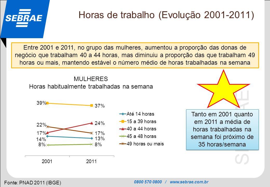 Horas de trabalho (Evolução 2001-2011)