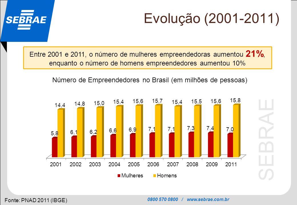 Número de Empreendedores no Brasil (em milhões de pessoas)