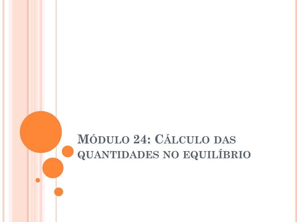 Módulo 24: Cálculo das quantidades no equilíbrio