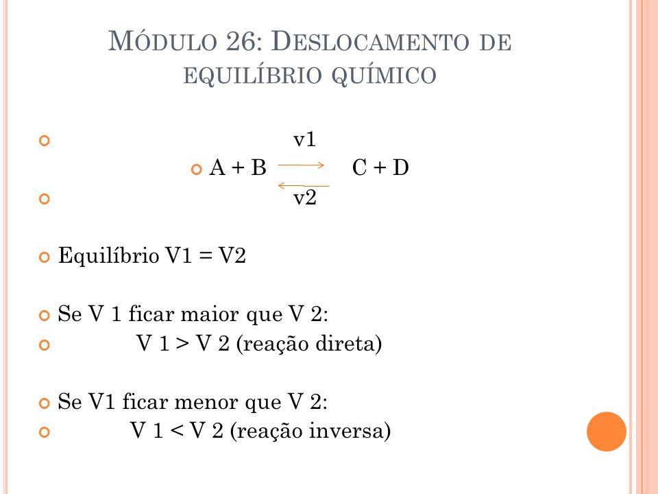 Módulo 26: Deslocamento de equilíbrio químico