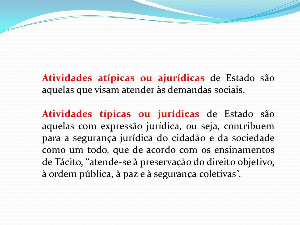Atividades atípicas ou ajurídicas de Estado são aquelas que visam atender às demandas sociais.