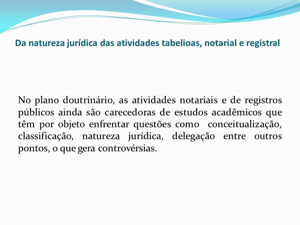 Da natureza jurídica das atividades tabelioas, notarial e registral