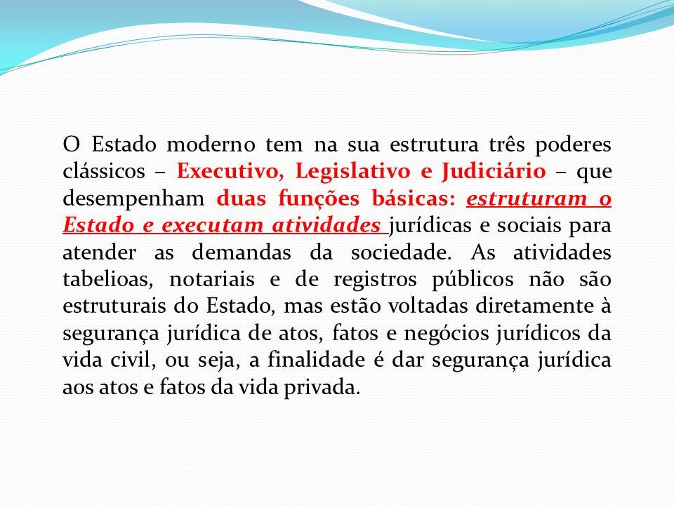 O Estado moderno tem na sua estrutura três poderes clássicos – Executivo, Legislativo e Judiciário – que desempenham duas funções básicas: estruturam o Estado e executam atividades jurídicas e sociais para atender as demandas da sociedade.