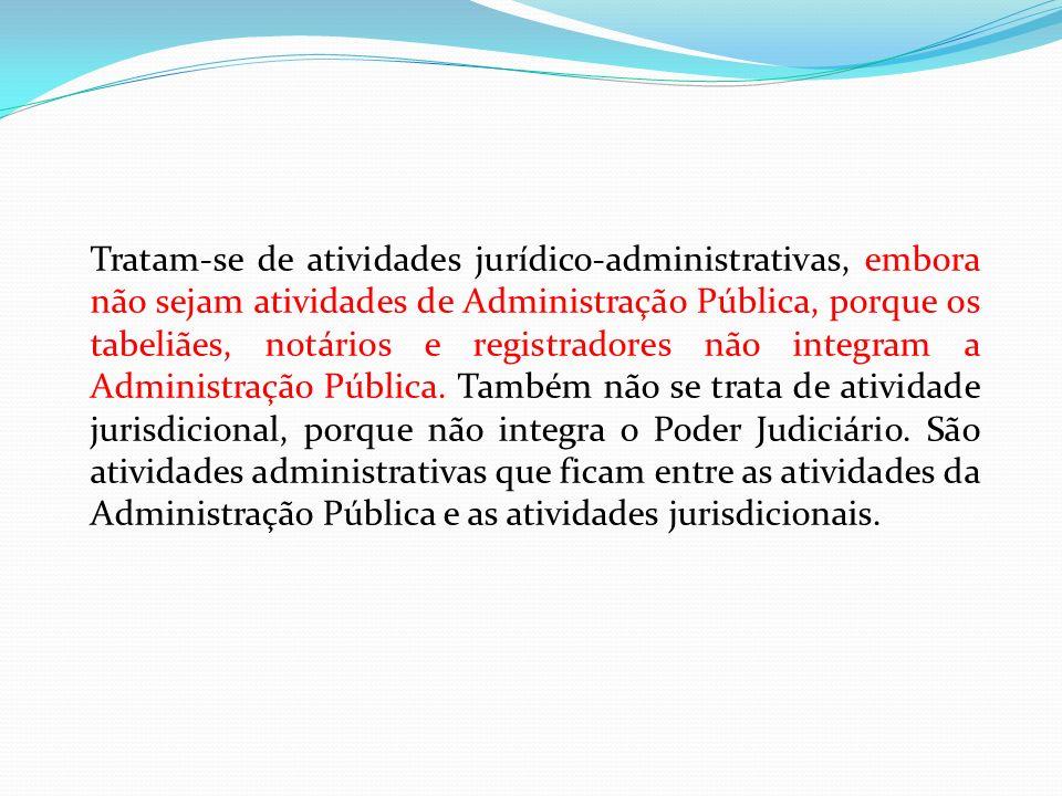 Tratam-se de atividades jurídico-administrativas, embora não sejam atividades de Administração Pública, porque os tabeliães, notários e registradores não integram a Administração Pública.