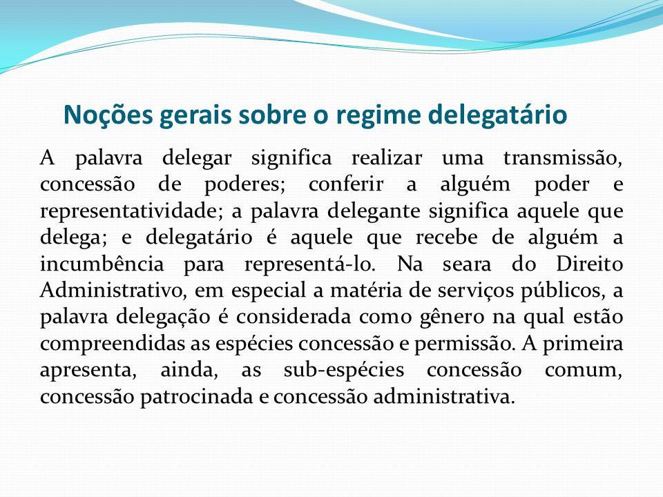 Noções gerais sobre o regime delegatário
