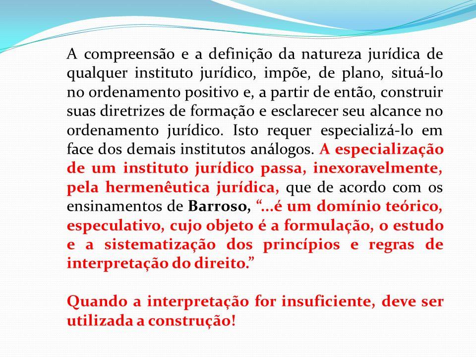 A compreensão e a definição da natureza jurídica de qualquer instituto jurídico, impõe, de plano, situá-lo no ordenamento positivo e, a partir de então, construir suas diretrizes de formação e esclarecer seu alcance no ordenamento jurídico. Isto requer especializá-lo em face dos demais institutos análogos. A especialização de um instituto jurídico passa, inexoravelmente, pela hermenêutica jurídica, que de acordo com os ensinamentos de Barroso, ...é um domínio teórico, especulativo, cujo objeto é a formulação, o estudo e a sistematização dos princípios e regras de interpretação do direito.