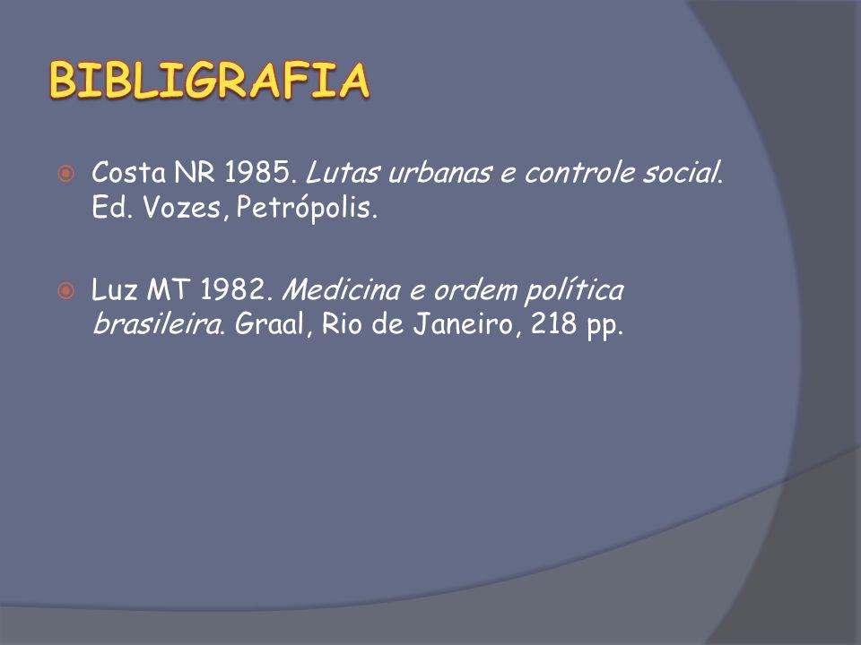 BIBLIGRAFIA Costa NR 1985. Lutas urbanas e controle social. Ed. Vozes, Petrópolis.