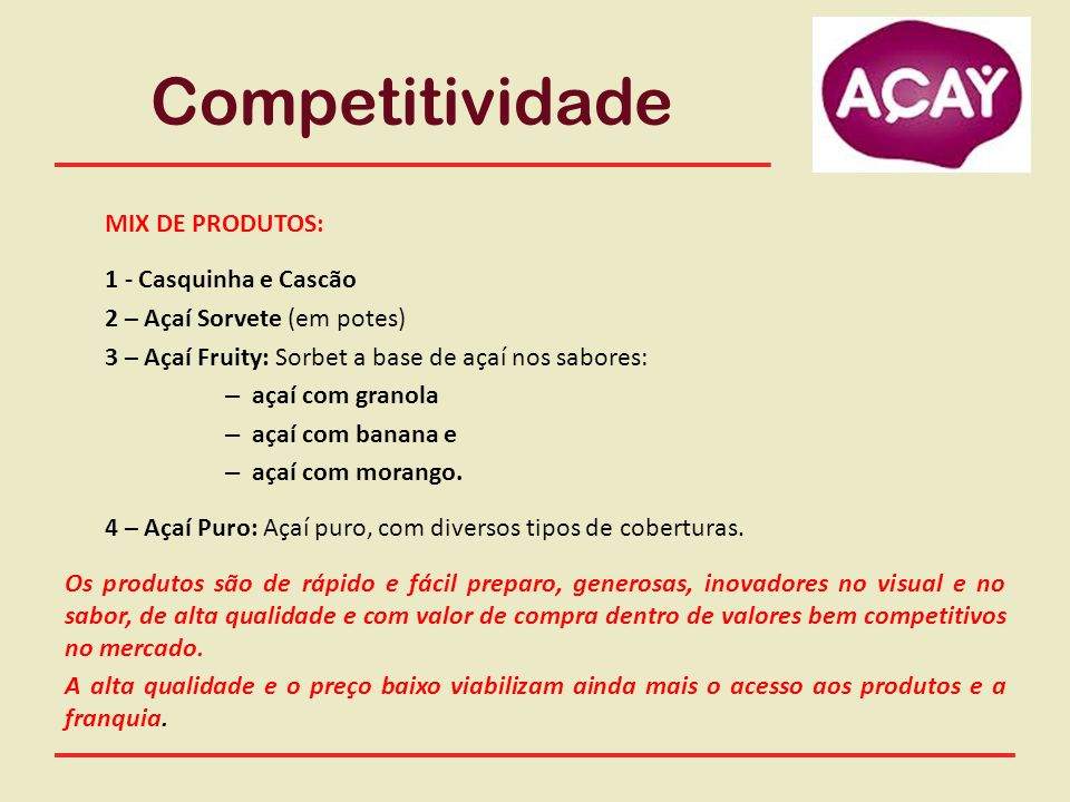 Competitividade MIX DE PRODUTOS: 1 - Casquinha e Cascão