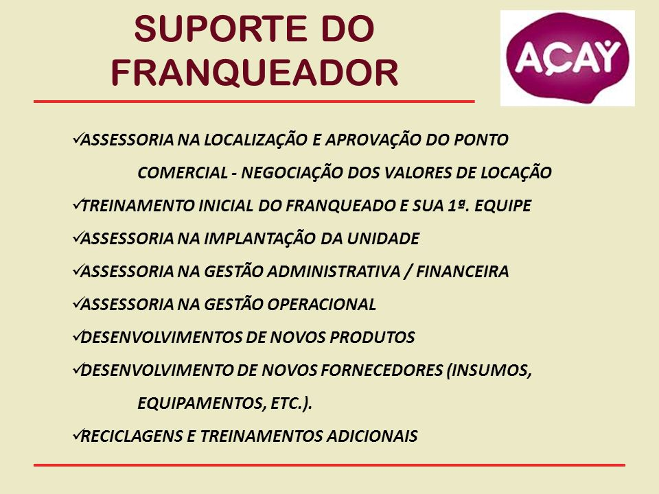 SUPORTE DO FRANQUEADOR