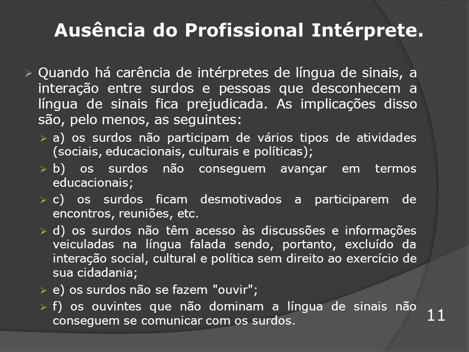 Ausência do Profissional Intérprete.