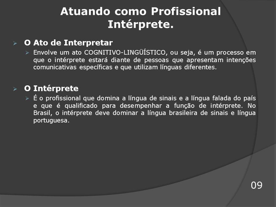 Atuando como Profissional Intérprete.