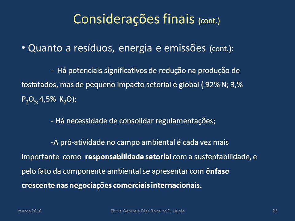 Considerações finais (cont.)