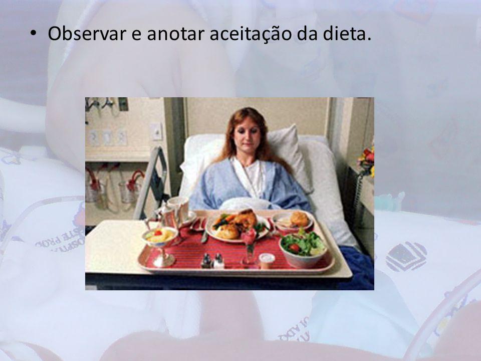 Observar e anotar aceitação da dieta.