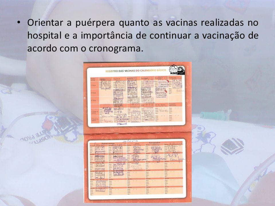 Orientar a puérpera quanto as vacinas realizadas no hospital e a importância de continuar a vacinação de acordo com o cronograma.