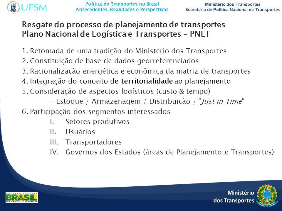 Resgate do processo de planejamento de transportes Plano Nacional de Logística e Transportes - PNLT