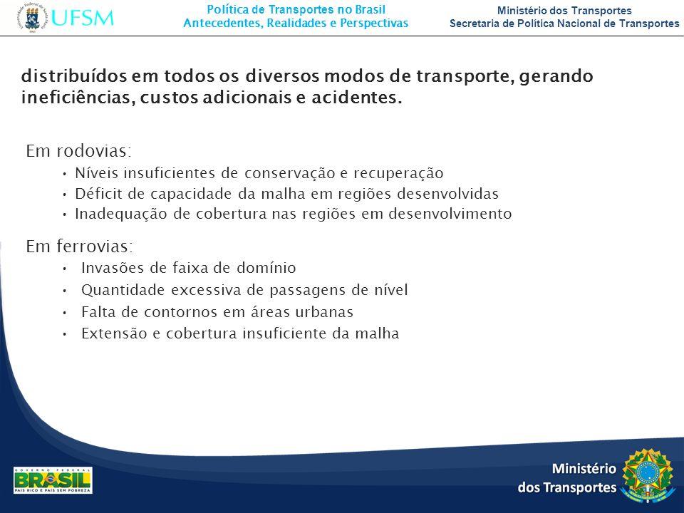 distribuídos em todos os diversos modos de transporte, gerando ineficiências, custos adicionais e acidentes.