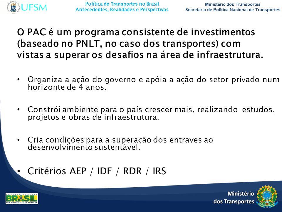 Critérios AEP / IDF / RDR / IRS