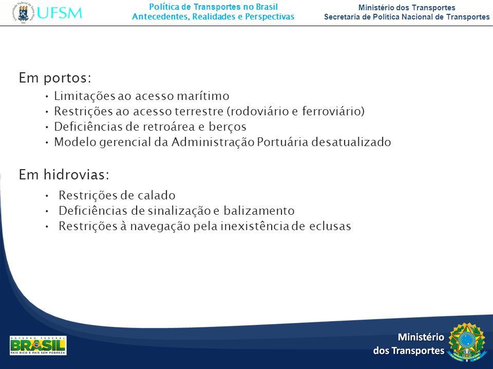 Em portos: Em hidrovias: Limitações ao acesso marítimo