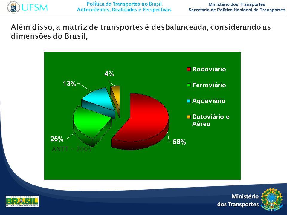 Além disso, a matriz de transportes é desbalanceada, considerando as dimensões do Brasil,