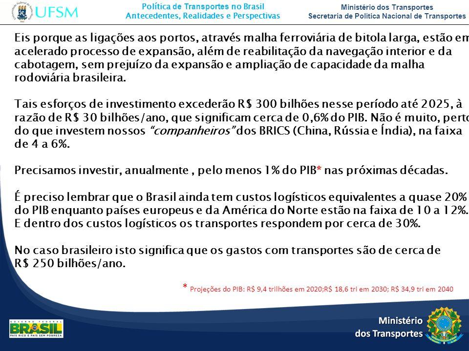 Eis porque as ligações aos portos, através malha ferroviária de bitola larga, estão em acelerado processo de expansão, além de reabilitação da navegação interior e da cabotagem, sem prejuízo da expansão e ampliação de capacidade da malha rodoviária brasileira.