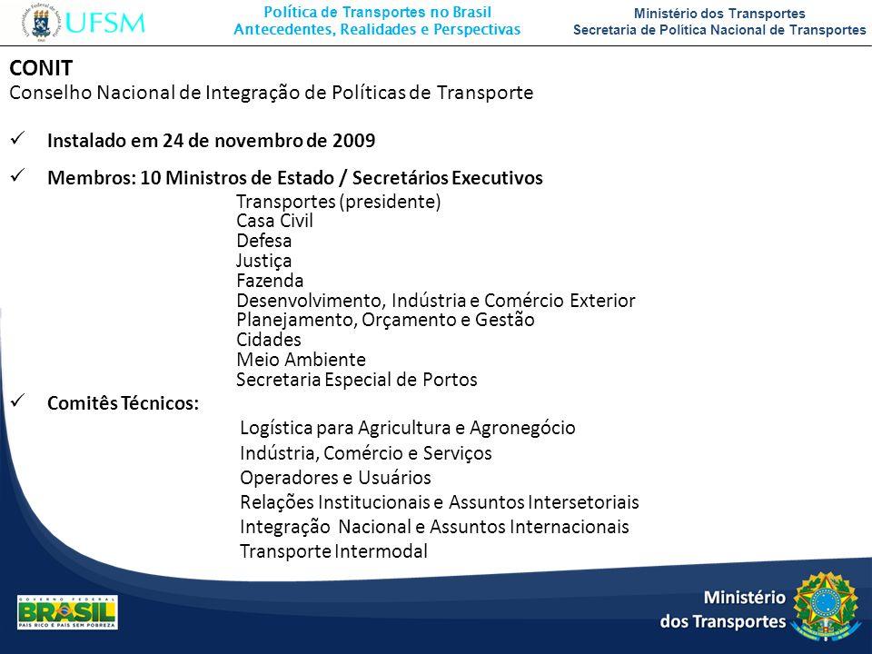 CONIT Conselho Nacional de Integração de Políticas de Transporte