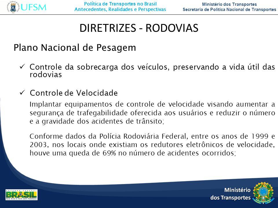 DIRETRIZES - RODOVIAS Plano Nacional de Pesagem