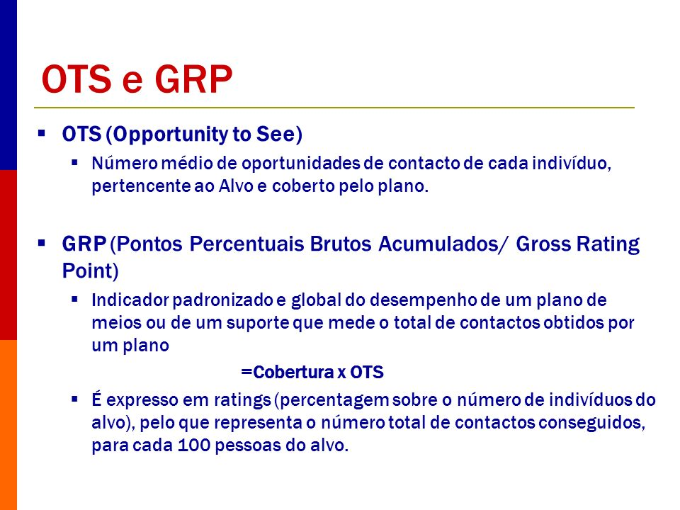 OTS e GRP OTS (Opportunity to See)