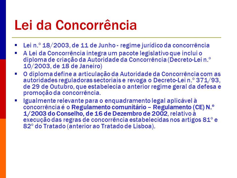 Lei da Concorrência Lei n.º 18/2003, de 11 de Junho - regime jurídico da concorrência.