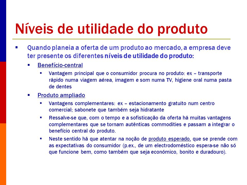 Níveis de utilidade do produto