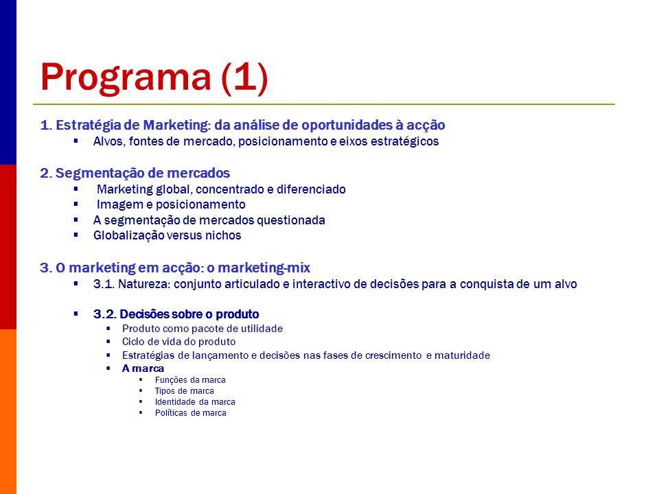Programa (1) 1. Estratégia de Marketing: da análise de oportunidades à acção. Alvos, fontes de mercado, posicionamento e eixos estratégicos.