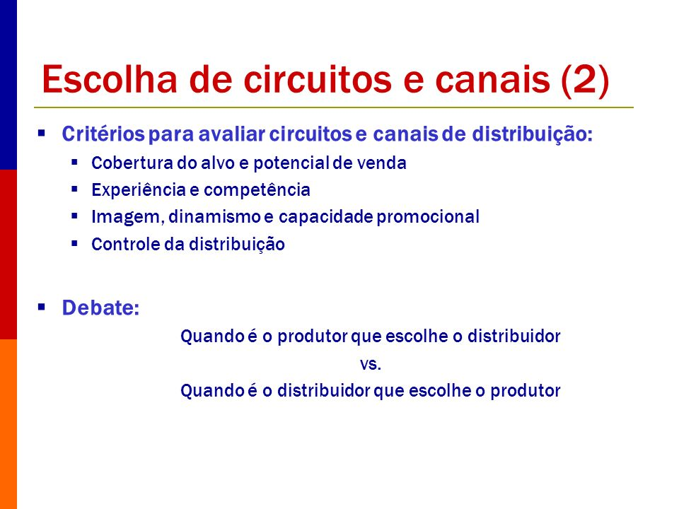 Escolha de circuitos e canais (2)