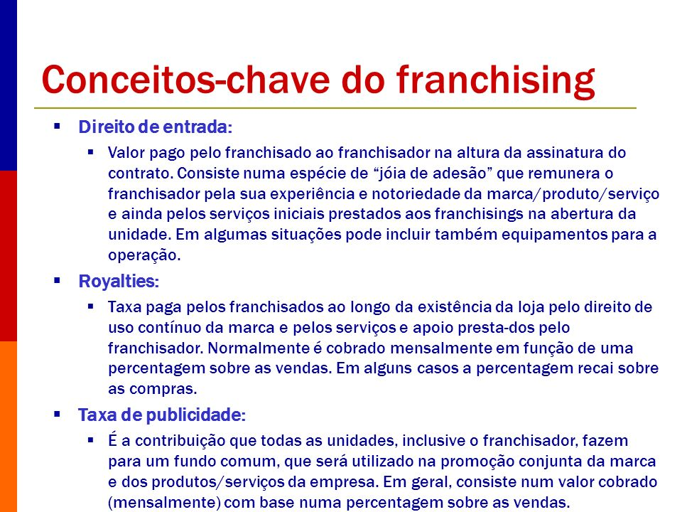 Conceitos-chave do franchising