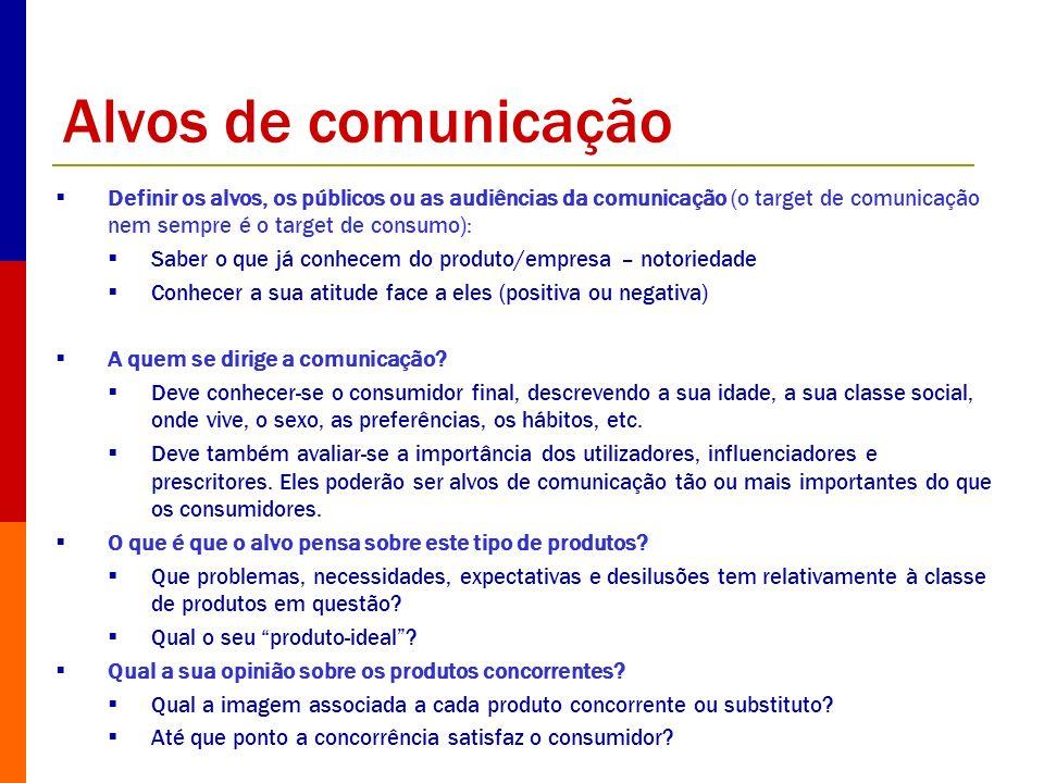 Alvos de comunicação Definir os alvos, os públicos ou as audiências da comunicação (o target de comunicação nem sempre é o target de consumo):