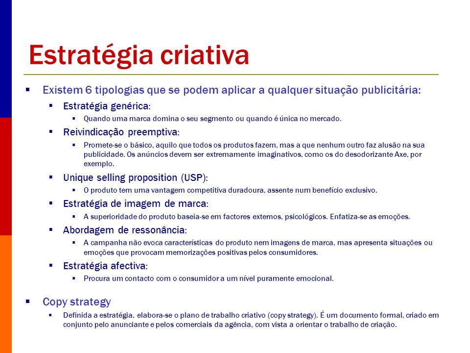 Estratégia criativa Existem 6 tipologias que se podem aplicar a qualquer situação publicitária: Estratégia genérica: