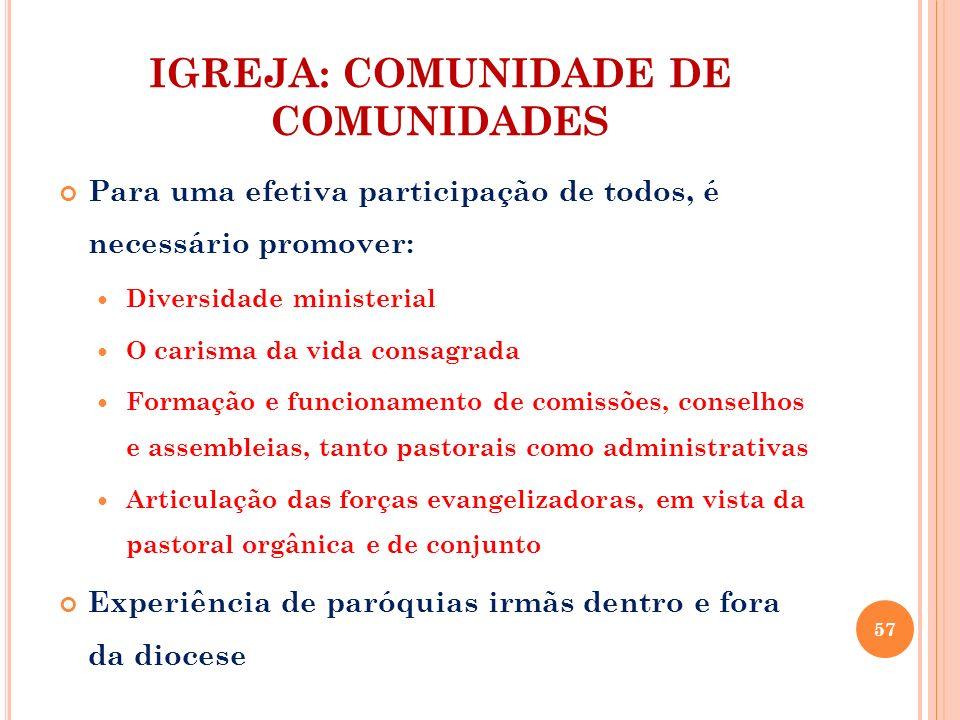 IGREJA: COMUNIDADE DE COMUNIDADES