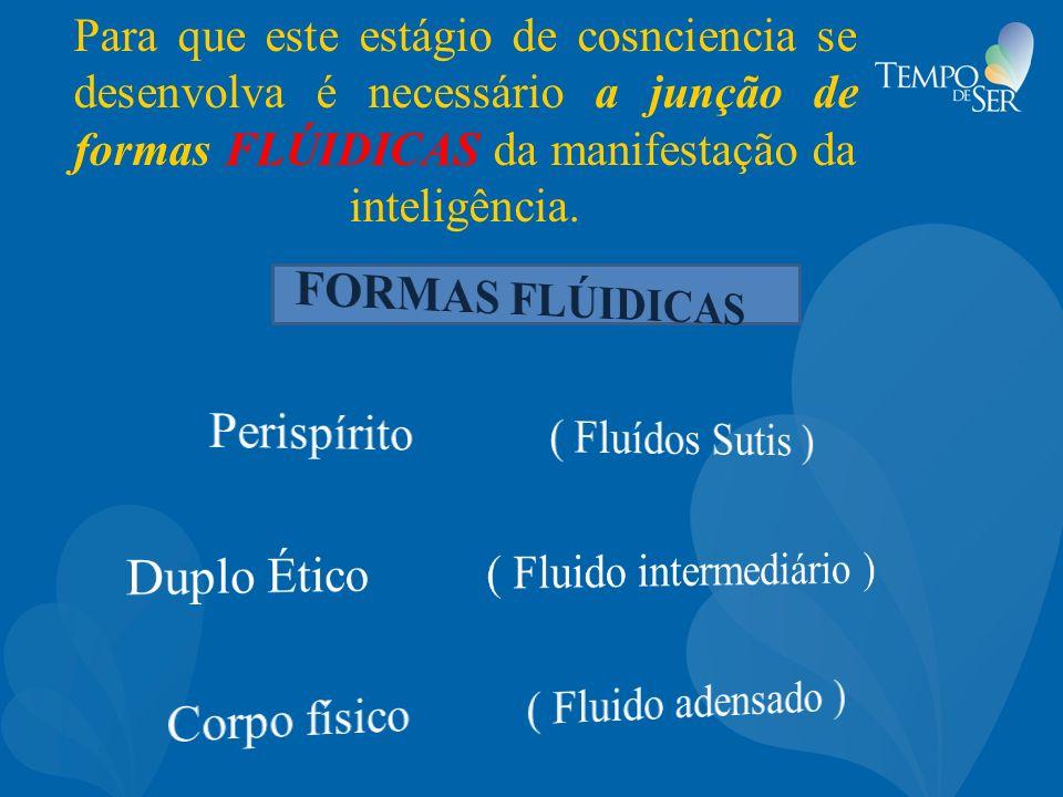 Para que este estágio de cosnciencia se desenvolva é necessário a junção de formas FLÚIDICAS da manifestação da inteligência.
