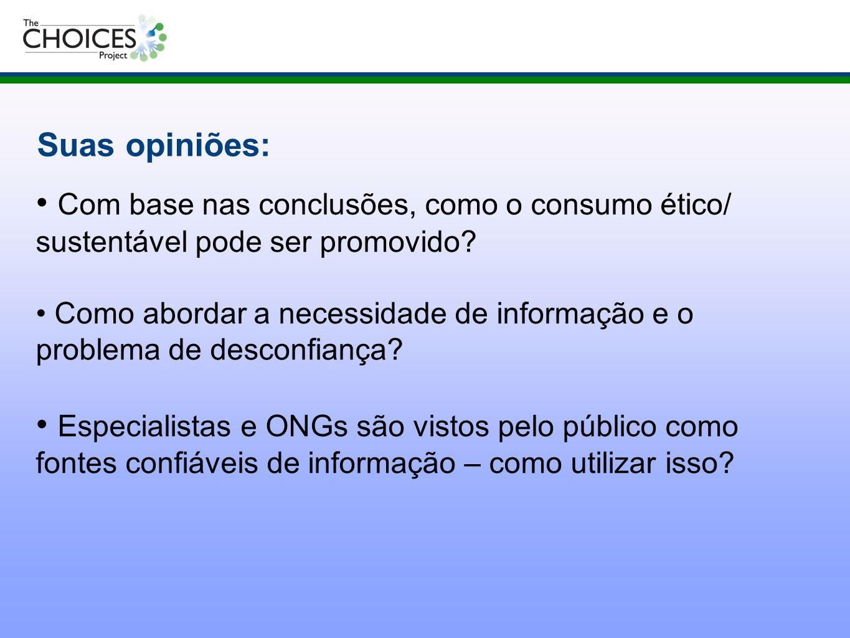 Suas opiniões: Com base nas conclusões, como o consumo ético/ sustentável pode ser promovido
