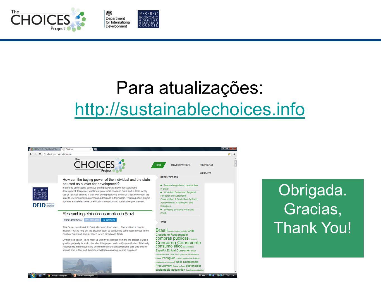 Para atualizações: http://sustainablechoices.info