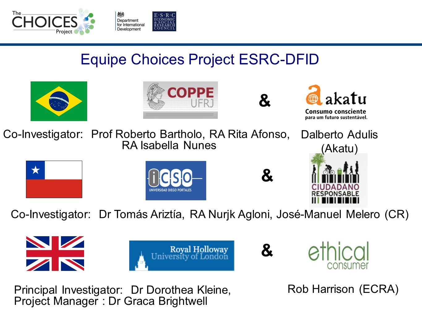 Equipe Choices Project ESRC-DFID