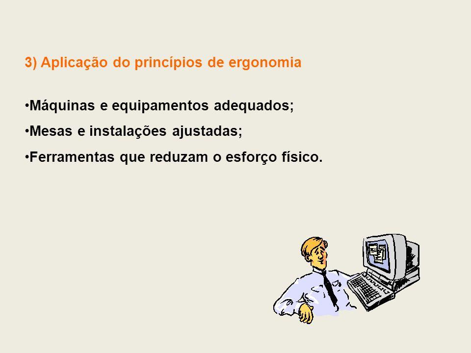 3) Aplicação do princípios de ergonomia