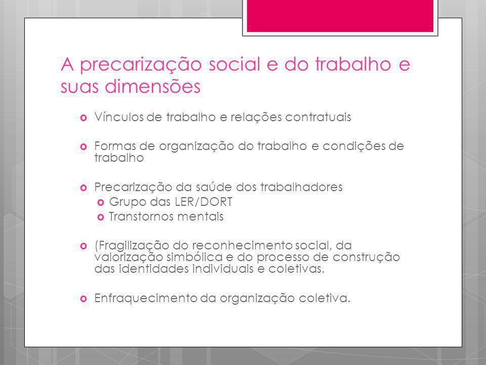 A precarização social e do trabalho e suas dimensões