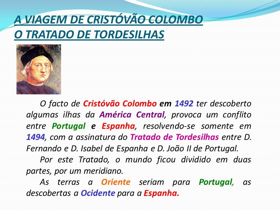 A VIAGEM DE CRISTÓVÃO COLOMBO O TRATADO DE TORDESILHAS