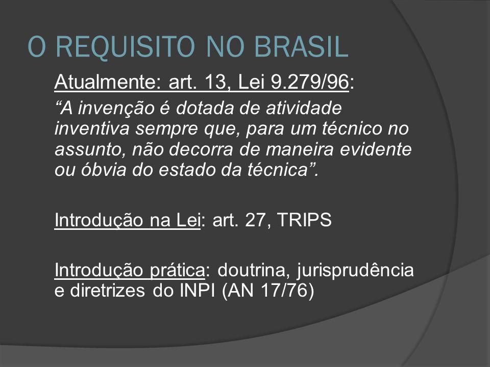 O REQUISITO NO BRASIL Atualmente: art. 13, Lei 9.279/96: