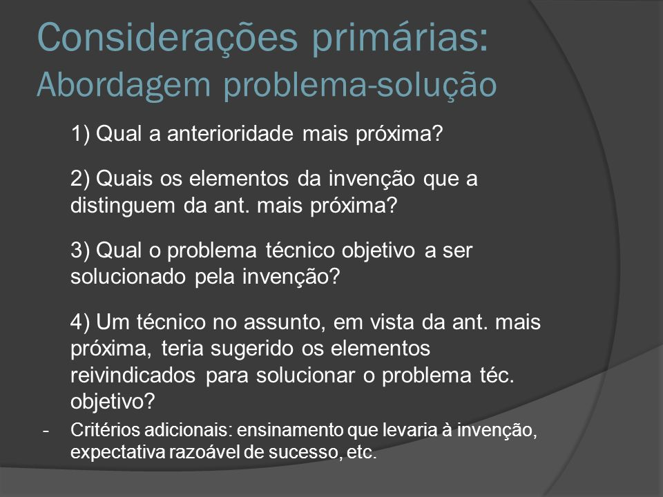 Considerações primárias: Abordagem problema-solução